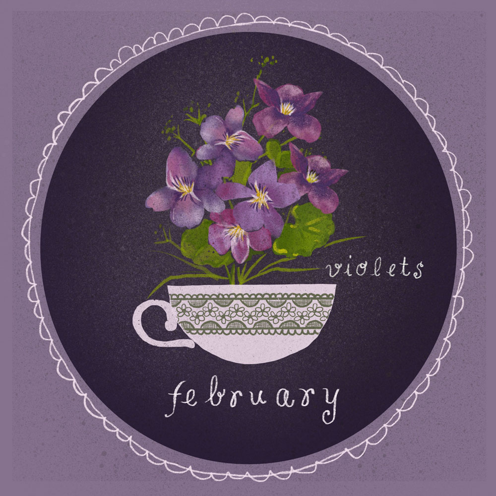 Violets illustration by Bonnie Lecat