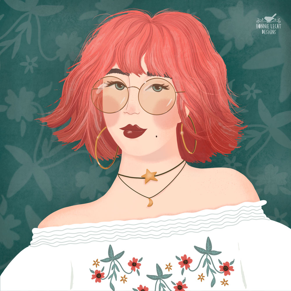 Funky boho girl illustration by Bonnie Lecat
