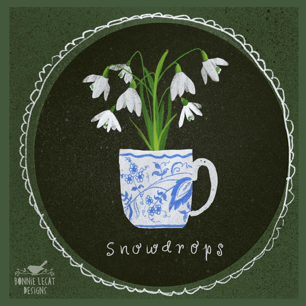 Snowdrops in a teacup illustration