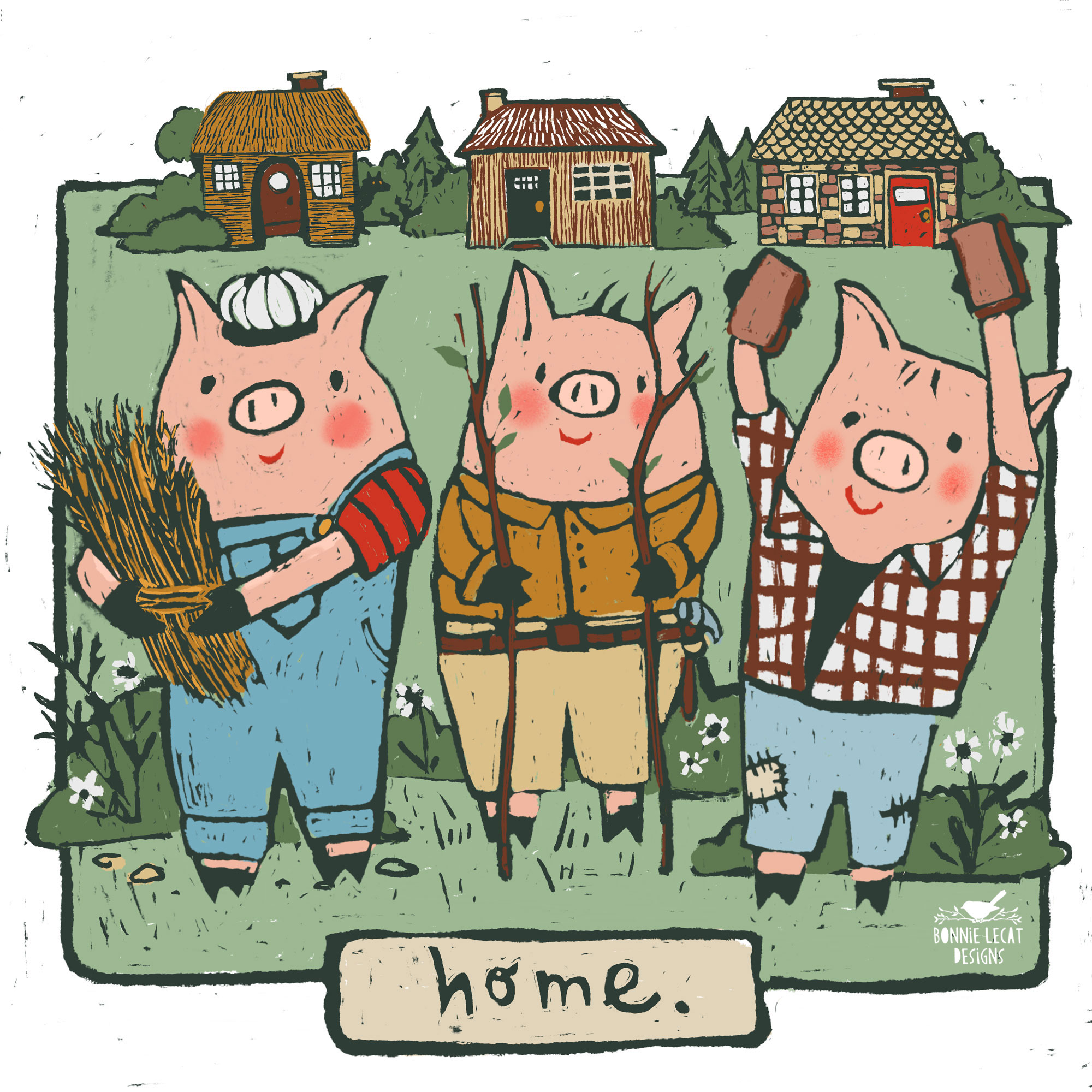 Three Little Pigs illustration by Bonnie Lecat