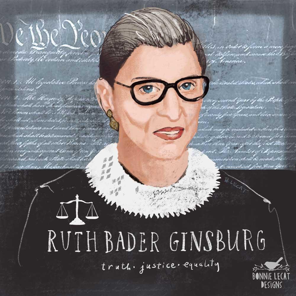 Ruth Bader Ginsburg illustration by Bonnie Lecat