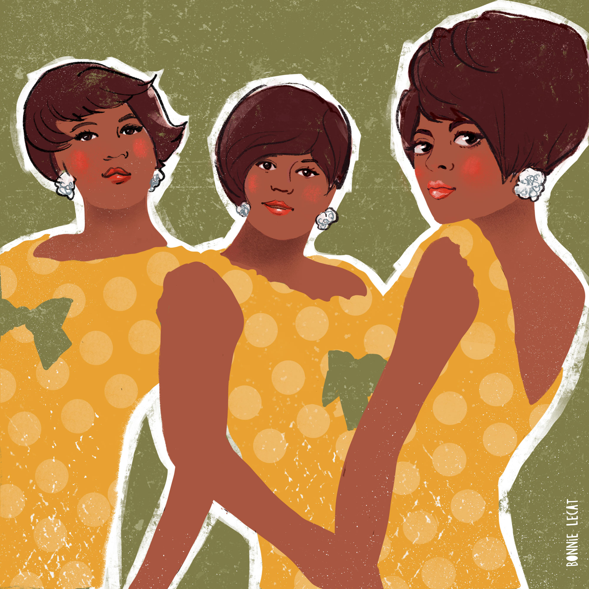 Diana Ross and the Supremes illustration by Bonnie Lecat.