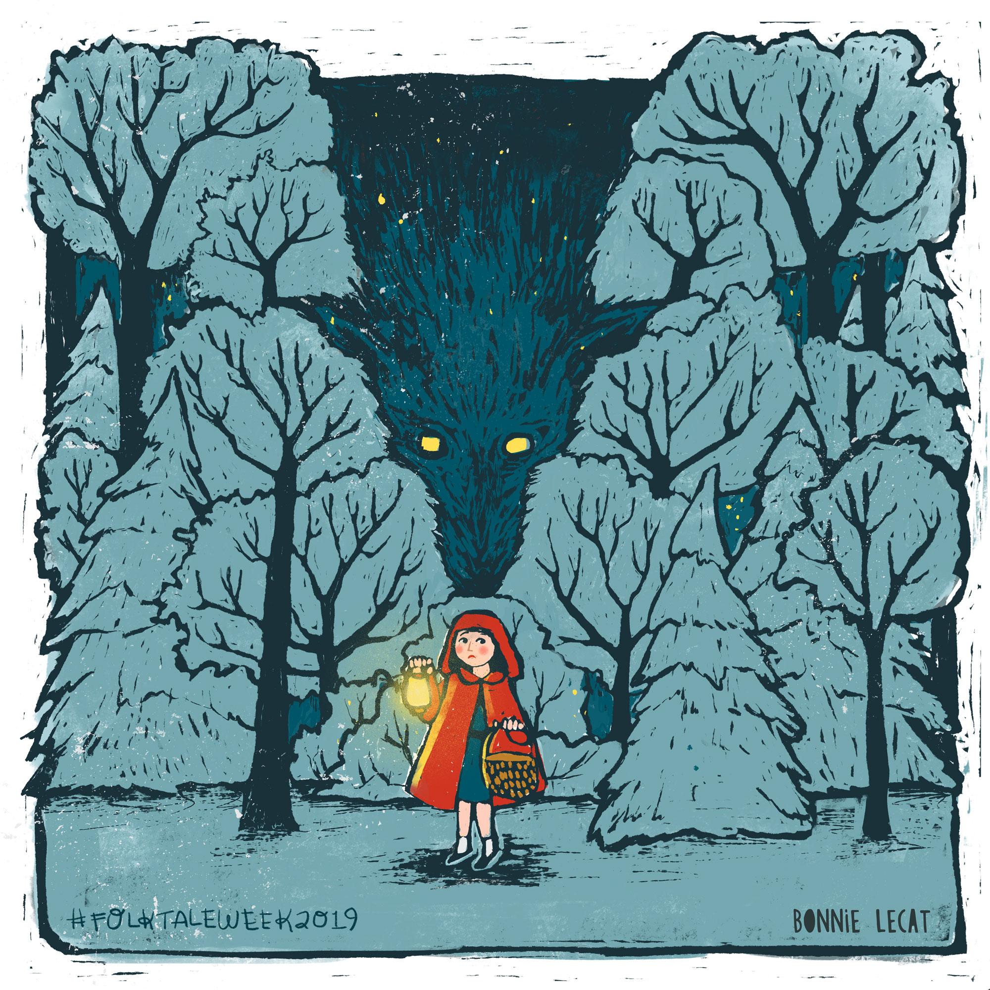Little Red Riding Children's Book Illustration by Bonnie Lecat