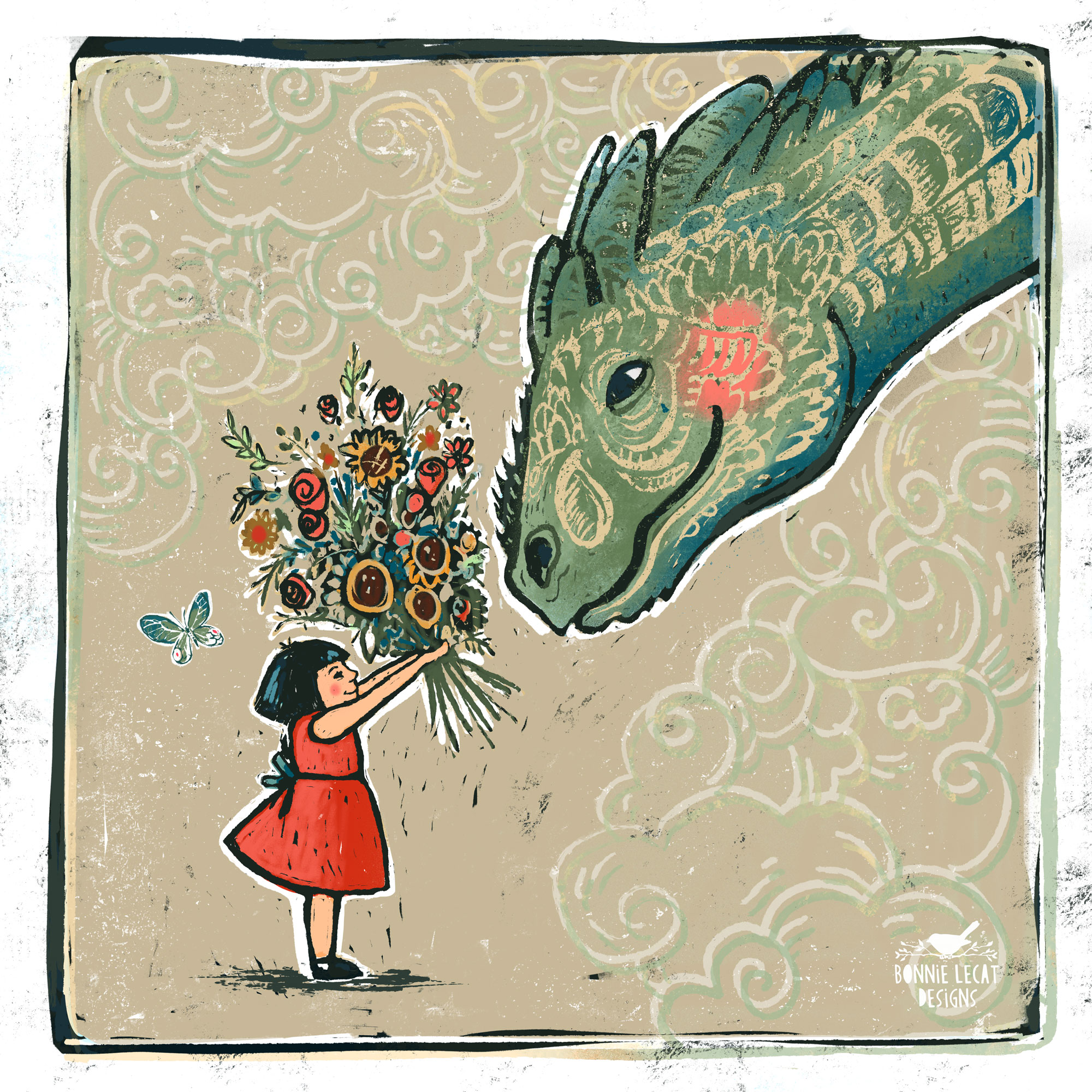 Pear Blossom and Dragon illustration by Bonnie Lecat.