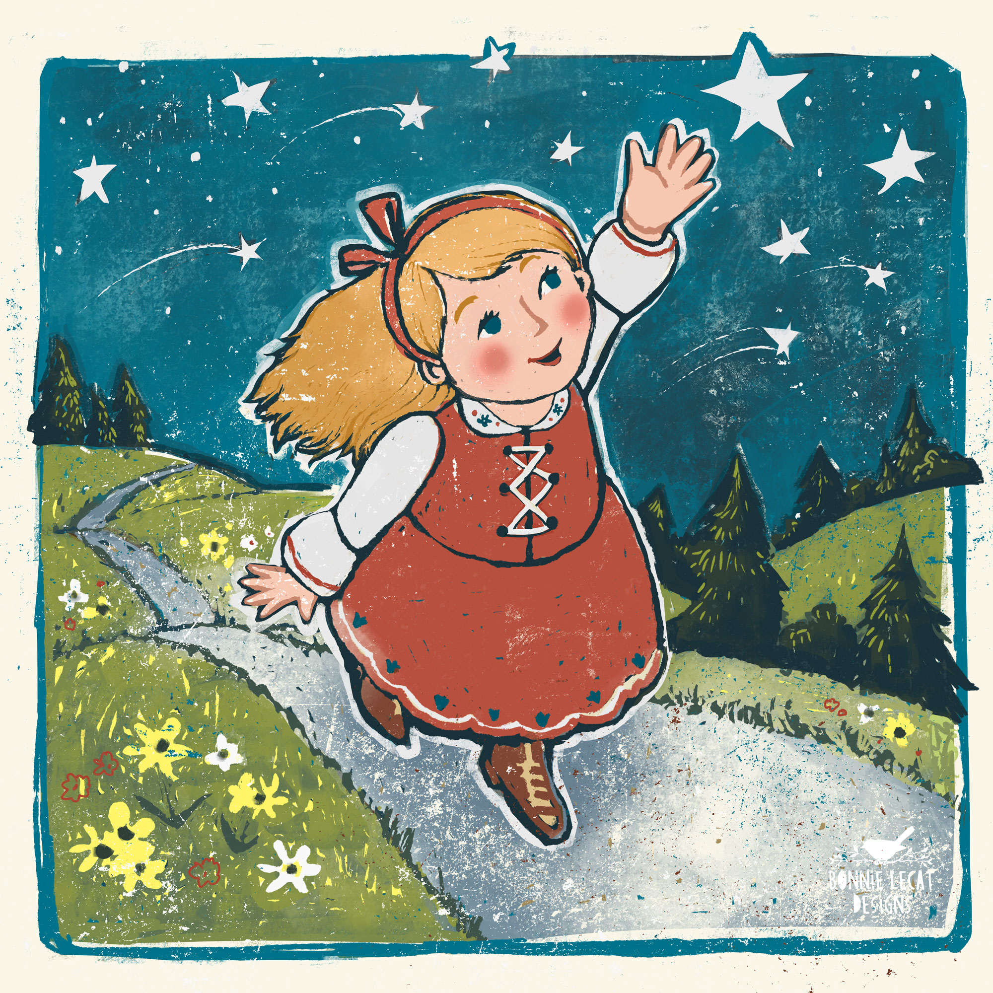 Reach for the Stars children's book illustration by artist Bonnie Lecat