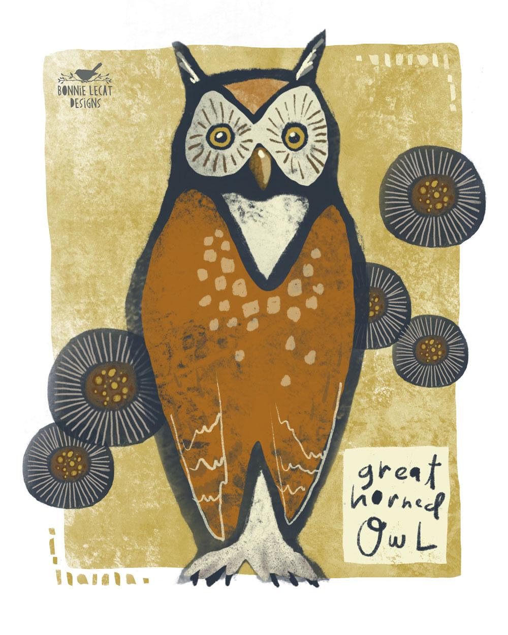 owl art by Bonnie Lecat
