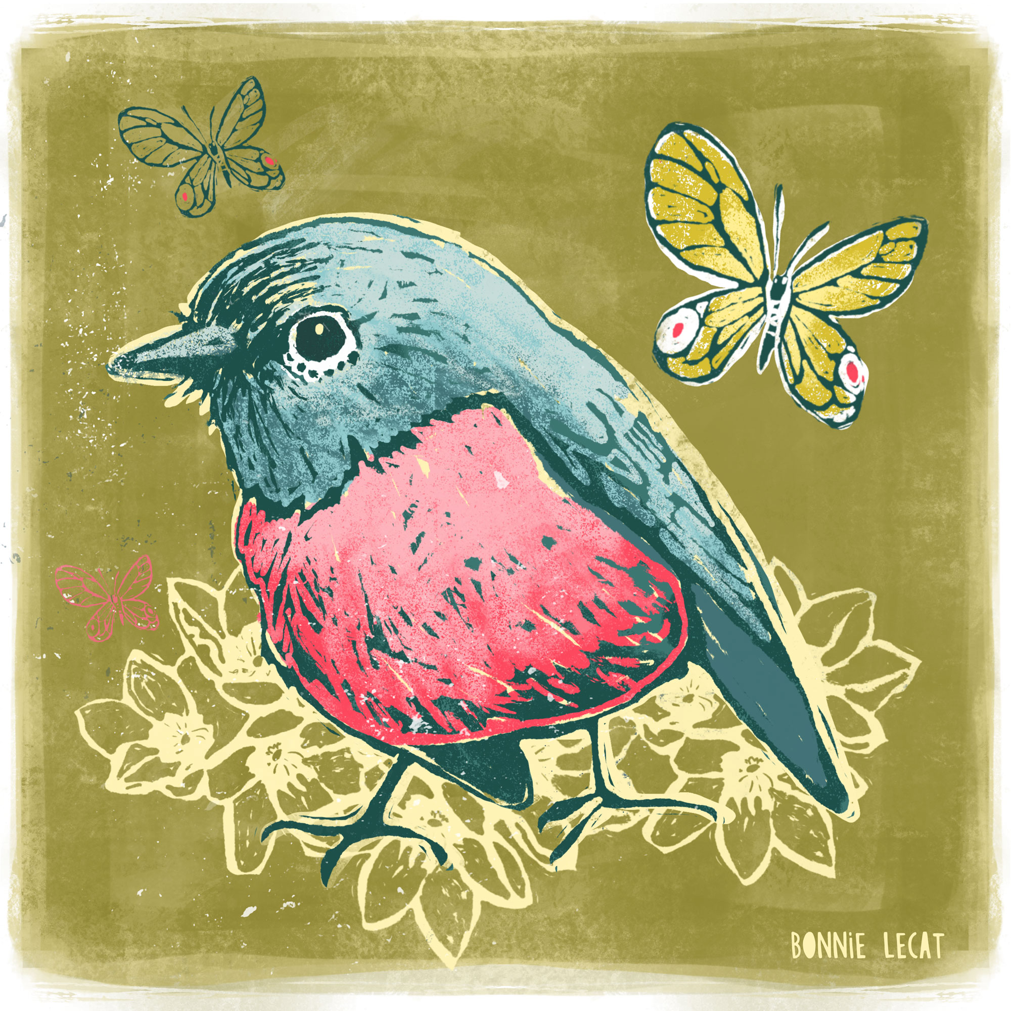 Birds and butterflies digital illustration by Bonnie Lecat.