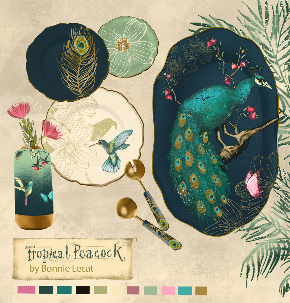 Tropical Peacock Home Decor collection by Bonnie Lecat.