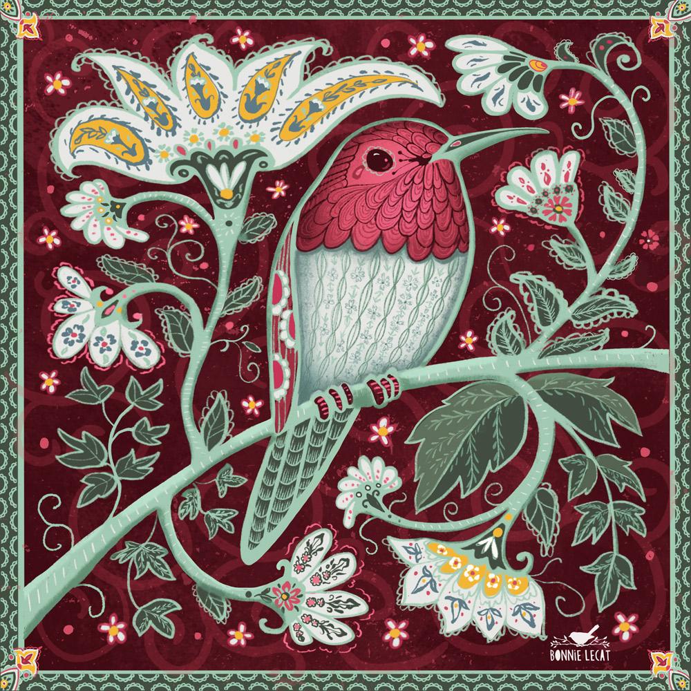 Paisley Hummingbird Illustration by Bonnie Lecat