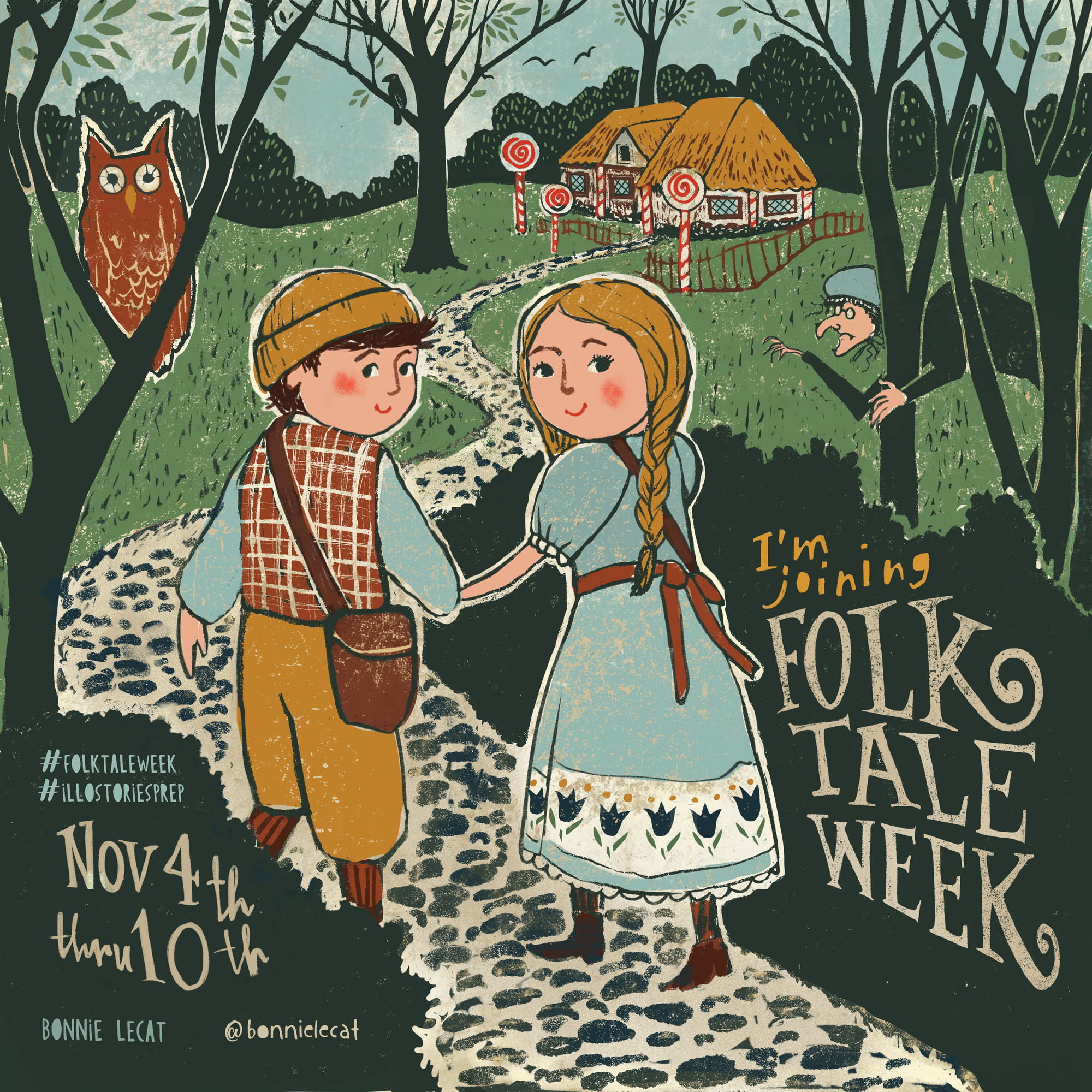 Hansel and Gretel by Bonnie Lecat illustration for Folk Tale Week